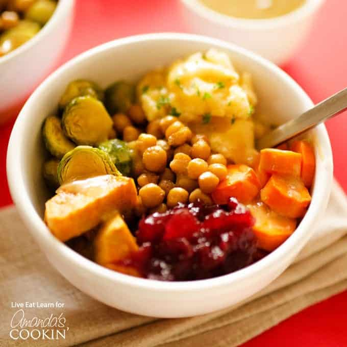 Enjoy those Thanksgiving leftovers in a colorful delicious bowl