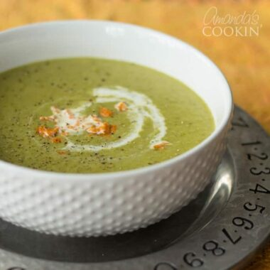 A bowl of Cream of asparagus soup