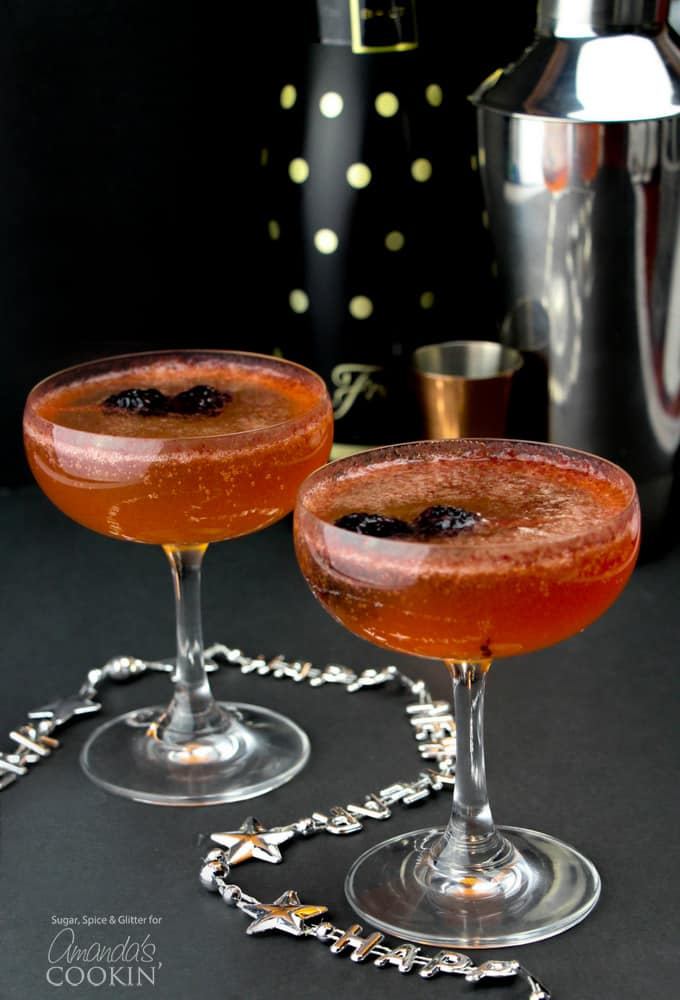 No matter what the celebration, these gorgeous champagne cocktails are ideal for any occasion. New Year's Eve, weddings, anniversaries, promotions and more!