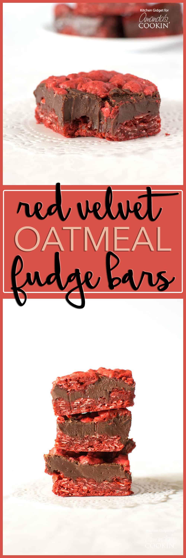 A photo of red velvet oatmeal fudge bars.