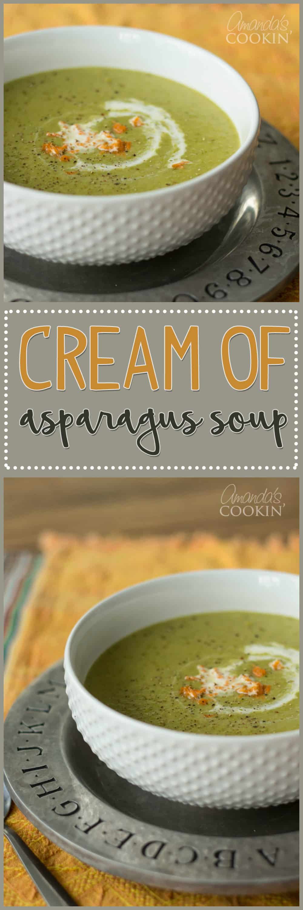 A photo of cream of asparagus soup.