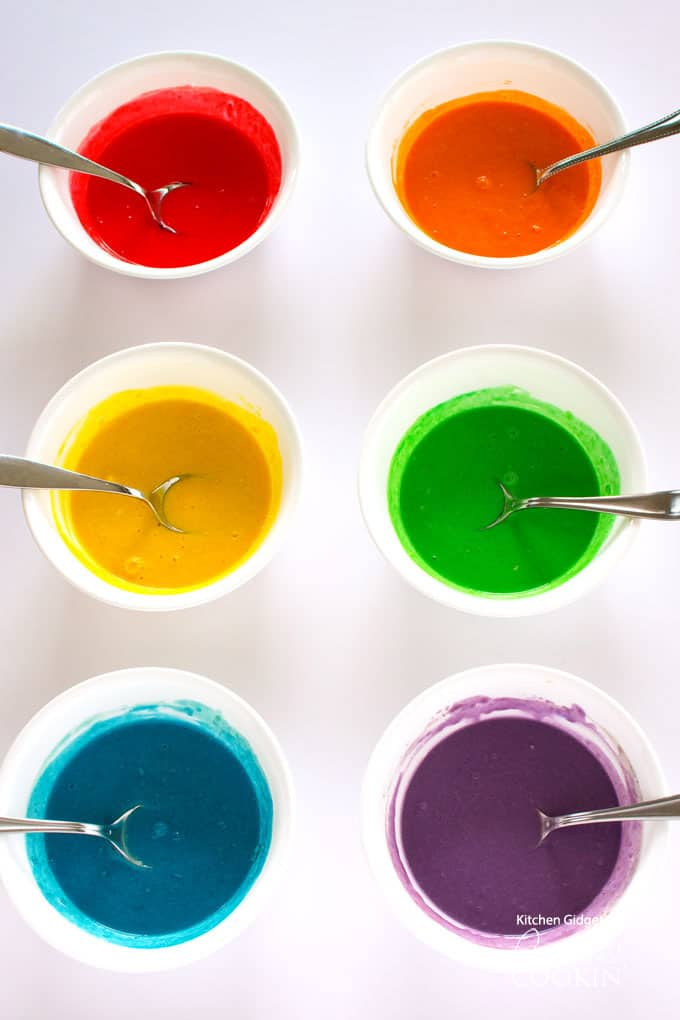 Colorful pancake mixes