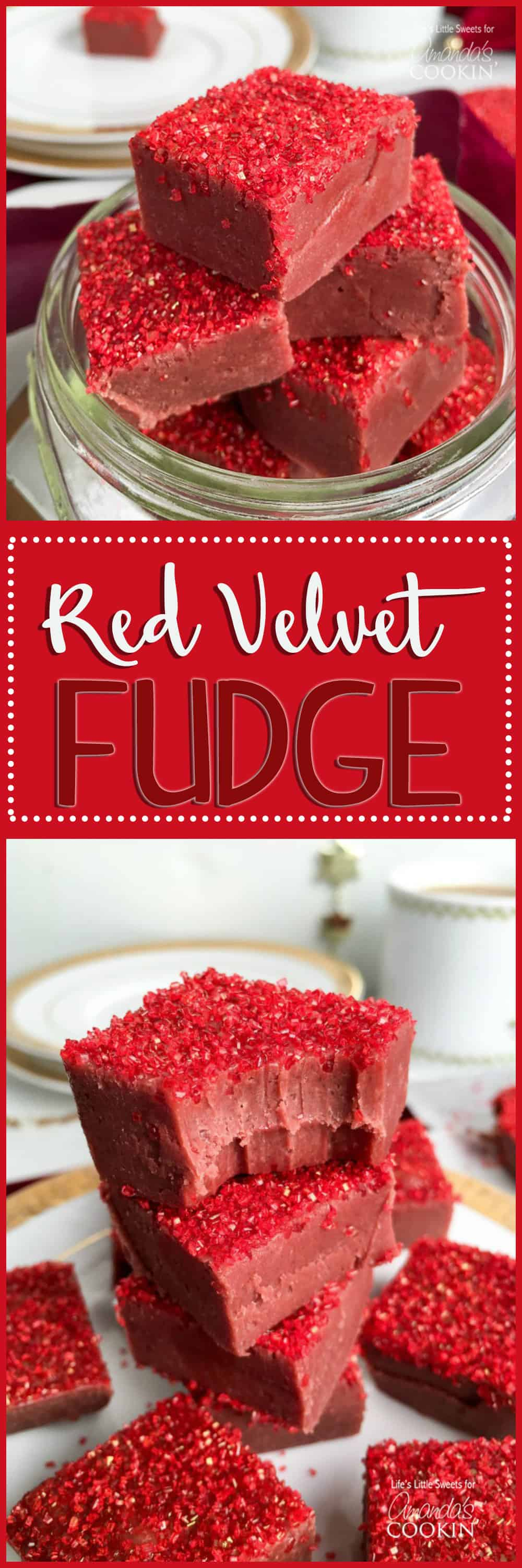 Red Velvet Fudge is the perfect sweet recipe to indulge in yourself or give as a gift for Valentine's Day, Christmas, birthdays or anniversaries!