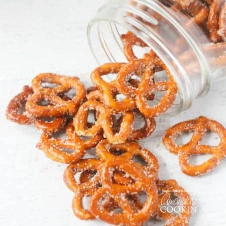 Make these sweet and salty pretzels in a jar as an easy edible gift.