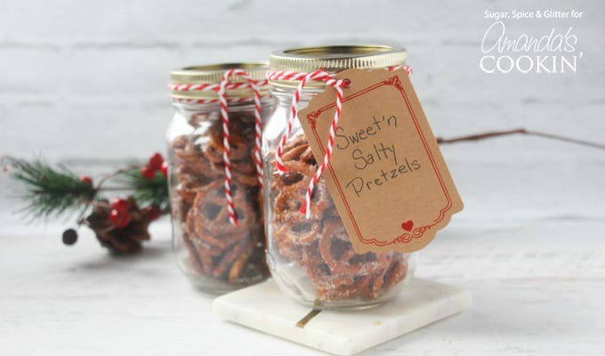 Make a fun and tasty gift - sweet and salty pretzels in a jar!