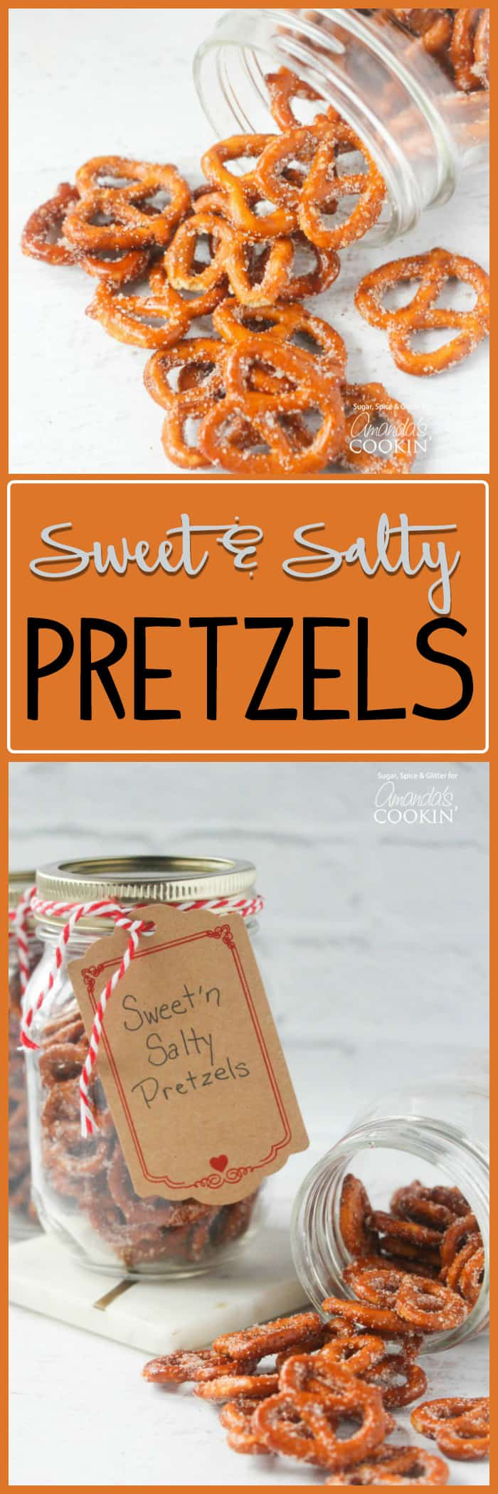 These sweet and salty pretzels are all packaged up to give as a gift. These pretzels in a jar are perfect for coworkers, friends, neighbors, teachers, etc.