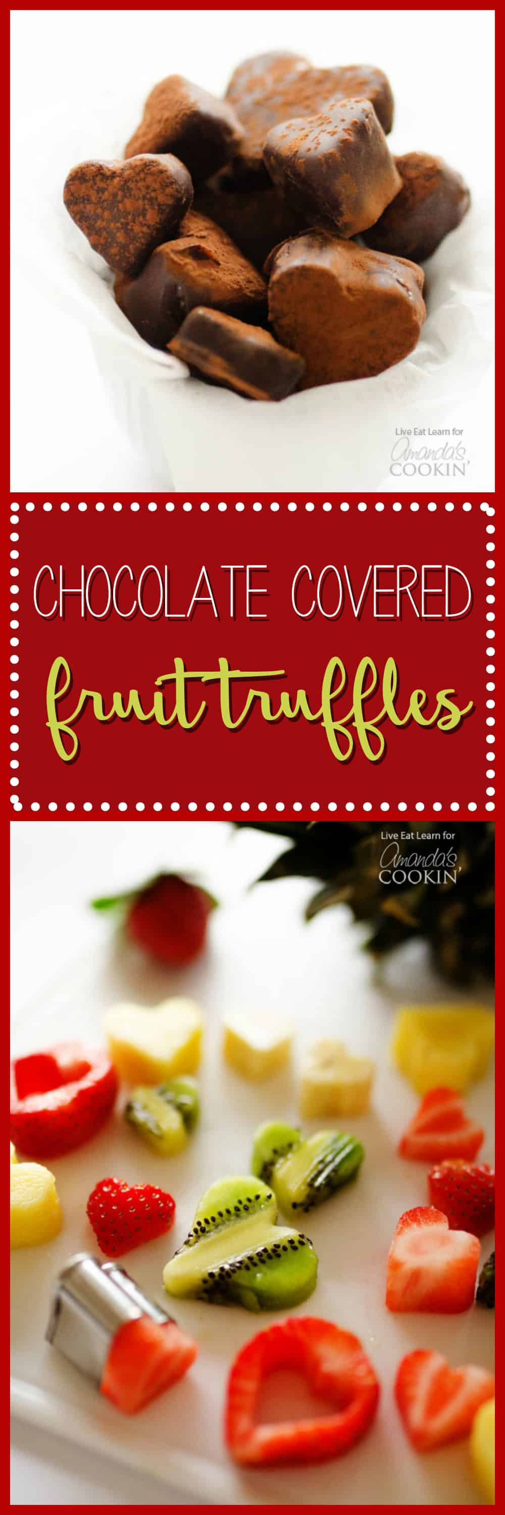 A photo of chocolate covered fruit truffles.