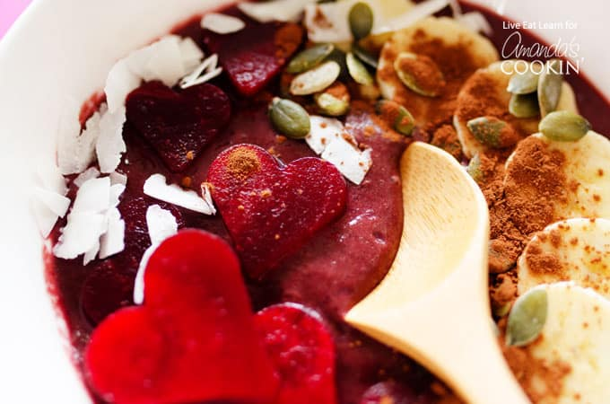 These Red Velvet Smoothie Bowls make the perfect Valentine's day breakfast, because not only are they made from the heart, but they're great for your heart!