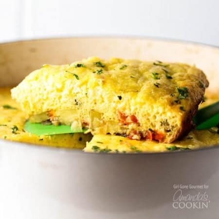 Make this light and fluffy vegetable frittata the star of your next breakfast or lunch. It's loaded with potatoes, bell pepper, poblano pepper, creamy ricotta cheese, and spicy Monterrey Jack.