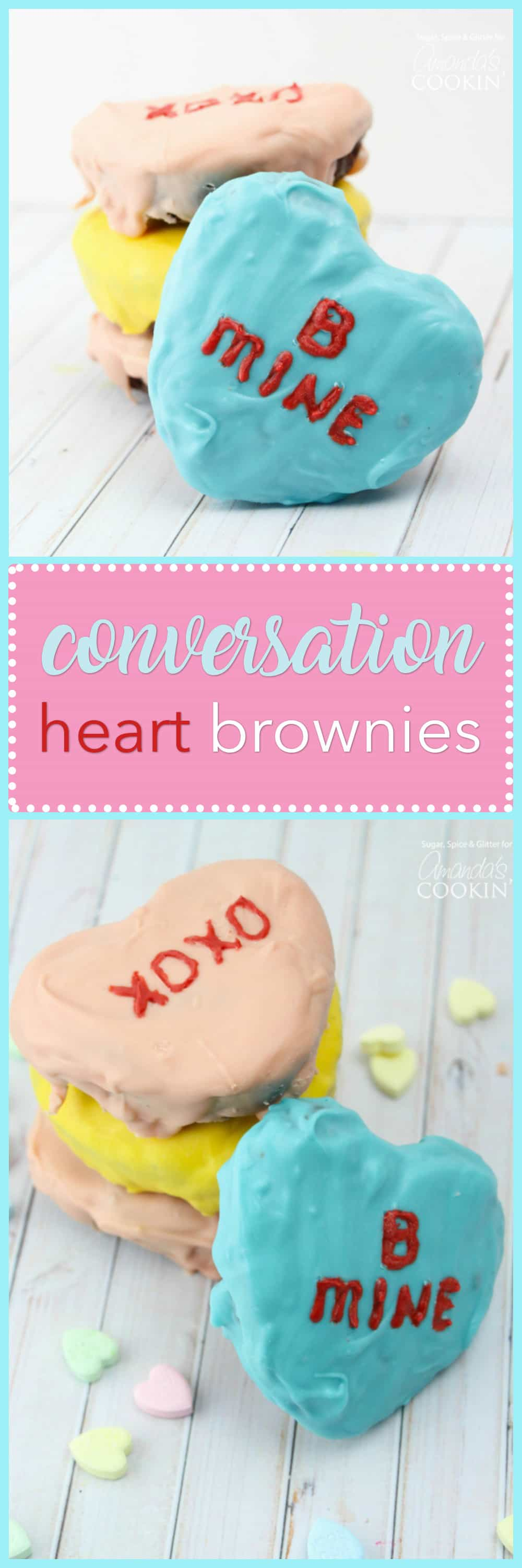These Conversation Heart Brownies make great Valentine's Day treats for teachers, friends or family! Decorate with your favorite colors and quotes.