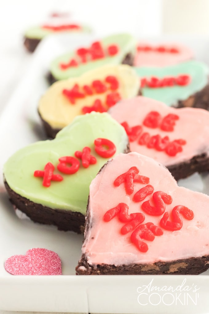 several conversation heart brownies on a plate