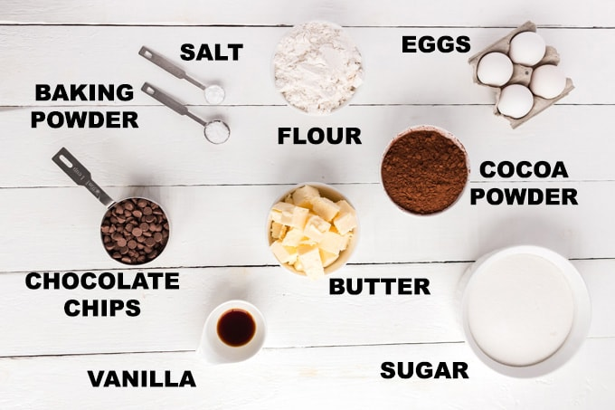 ingredients for heart brownies