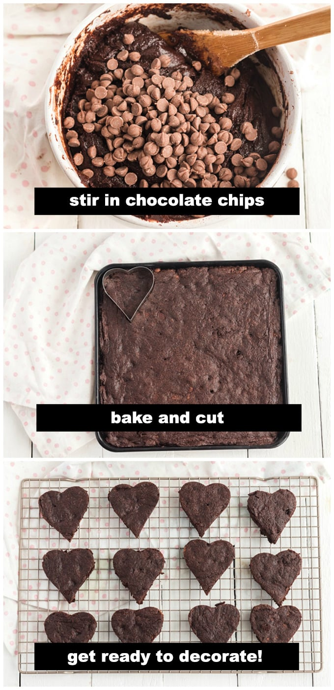 baked brownies and a heart cookie cutter
