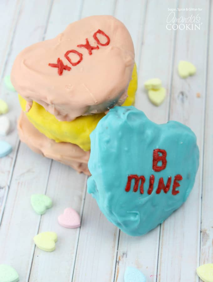 These Conversation Heart Brownies are a rich, chocolatey mess of goodness with all of the cuteness of the classic Valentine candies, making them the perfect easy Valentine's dessert.