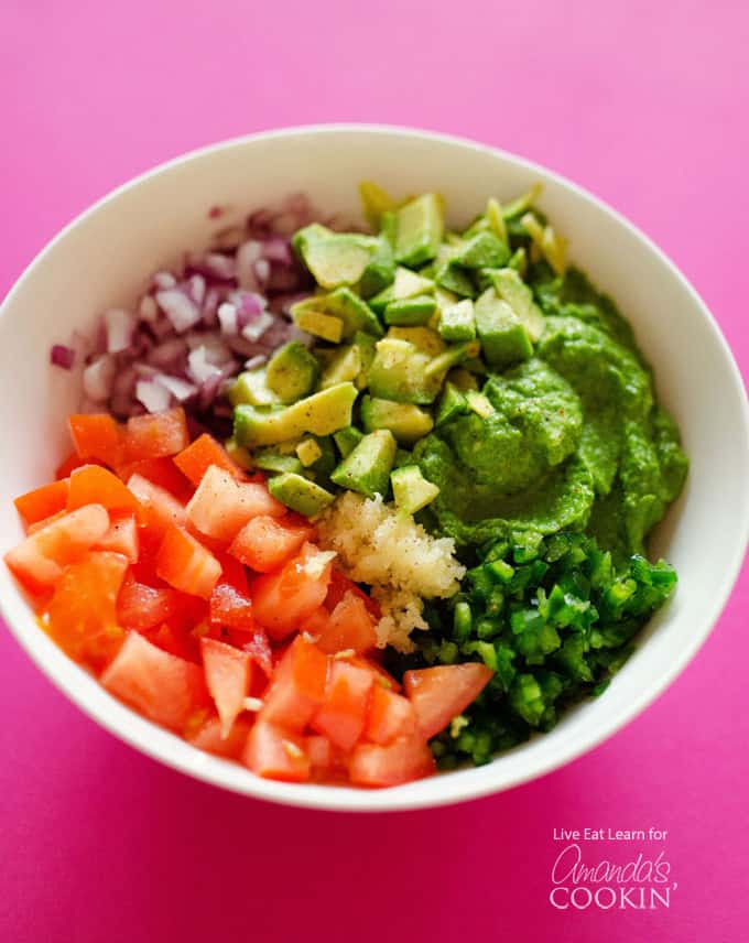 This delicious dip tastes like regular guacamole, but has a healthy little secret that none of your friends or family will be able to guess.