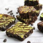 Marbled mint cheesecake brownie squares.