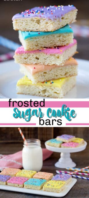 frosted sugar cookie bar pin image