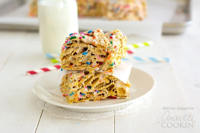 Typically, these funfetti marshmallow cereal bars would be made in a 13x9-inch pan, but I like to put them in a square pan for thicker bars. You won't get quite as many servings, but they are beautifully thick and chewy.