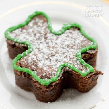Shamrock Shaped Brownies are the perfect dessert for your St. Patrick's Day celebration! Decorate these brownies as you please or leave them regular.