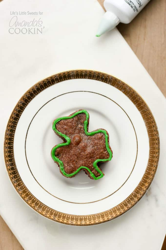 shamrock shaped brownie on plate