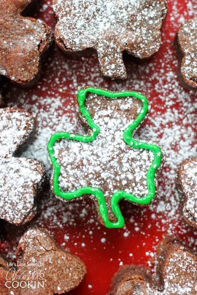 Shamrock Shaped Brownies are the perfect dessert for your St. Patrick's Day celebration!