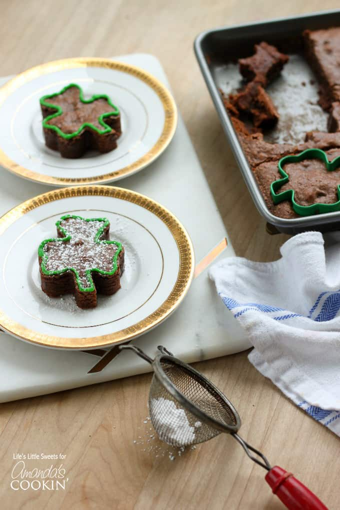 In this recipe, I use a 3 inch x 2 1/2 inch shamrock-shaped cookie cutter. You can find a cookie cutter like this at your local craft store. I found this one at Michael's.