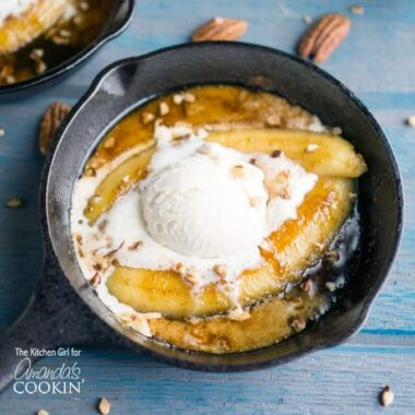 "Single serve banana foster topped with vanilla ice cream in a 5"" skillet."
