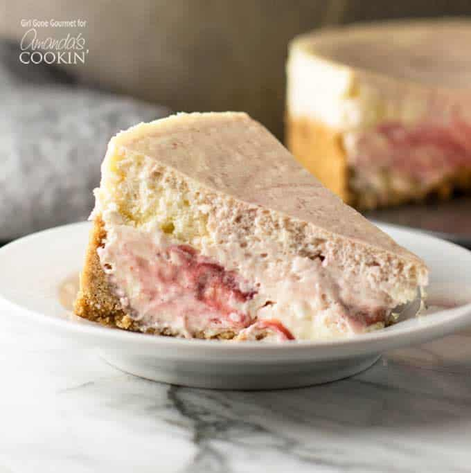 Buckling under it's own decadent weight this strawberry swirl cheesecake is my go-to for special occasions.