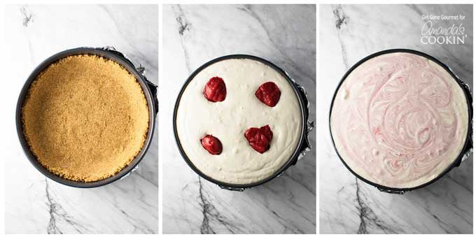 A set of three overhead pictures, one of a pie crust in a cheesecake pan, the other pan filled with filling and strawberry puree on top and finally the third picture with a cheesecake ready for baking with the puree swirled into the filling.