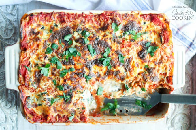 This Veggie Lasagna is satisfying, savory, delicious and there's plenty for everyone!