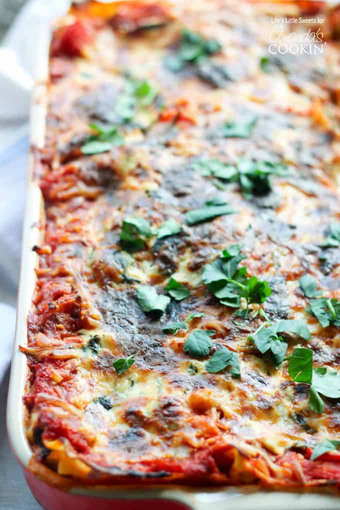 close up of pan of veggie lasagna