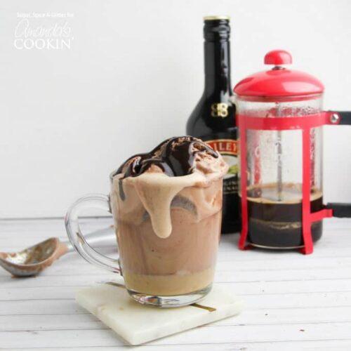 baileys coffee float in a glass mug
