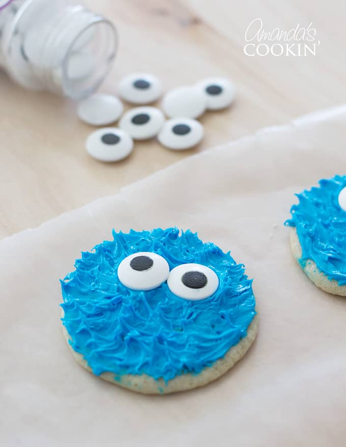 We found that some of our candy eyes were not perfectly centered. That was great because we used those for Cookie Monster and used the centered ones for Elmo!