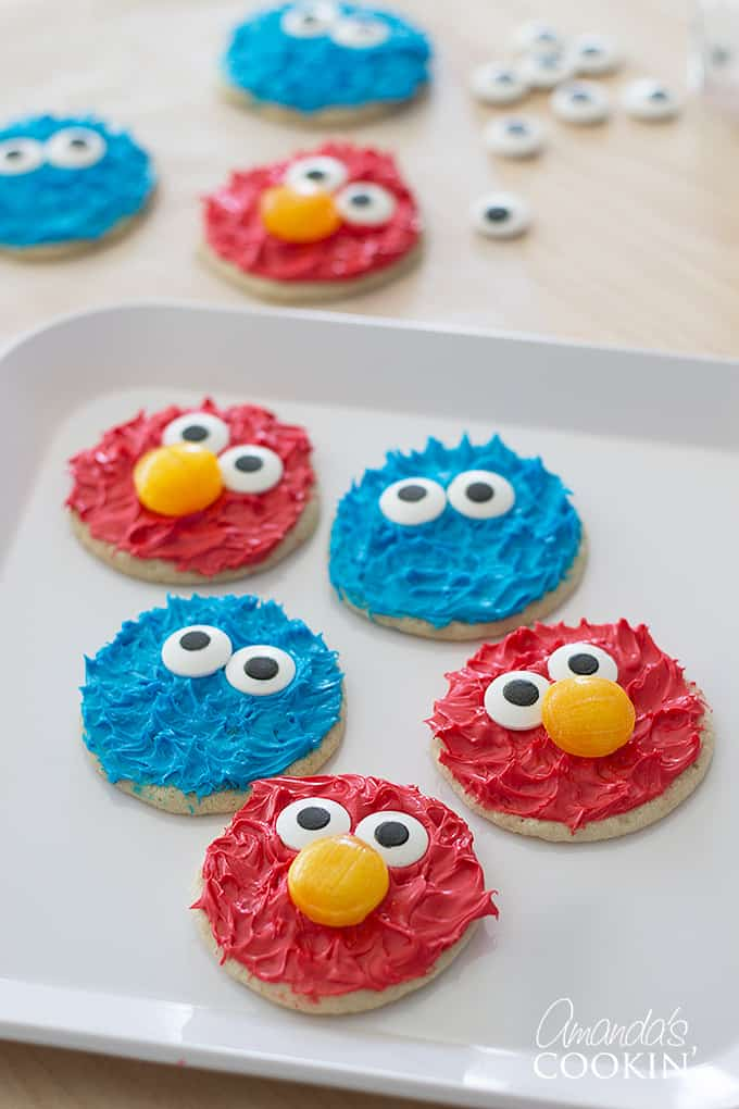 Cookie monster and Elmo cookies on a plate