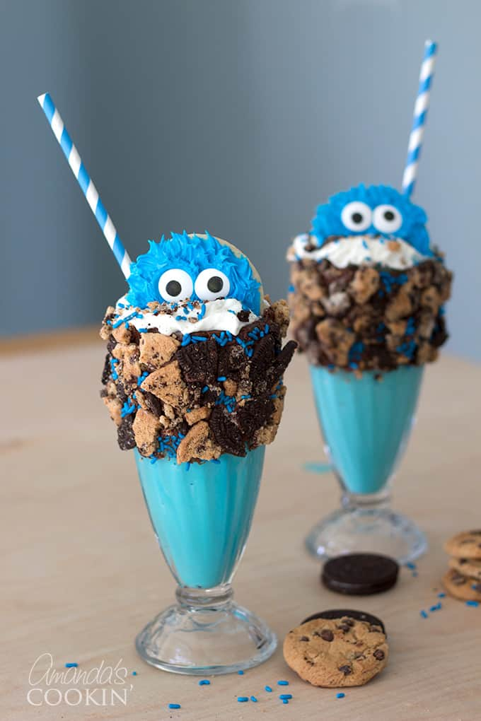 These Cookie Monster Freak Shakes are so fun and kids will love them for a birthday party or just for the heck of it, and you won't believe how easy they are to make!