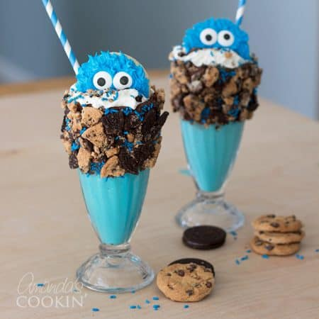 These Cookie Monster Freak Shakes are super easy to make and loaded with delicious cookies. The cuteness is just an added bonus with these milkshakes!