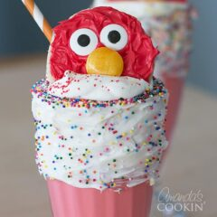 elmo cookie in top of freakshake