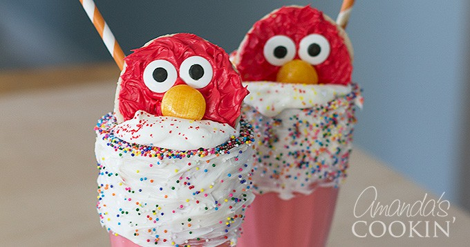 Elmo cookies on top of a milkshake