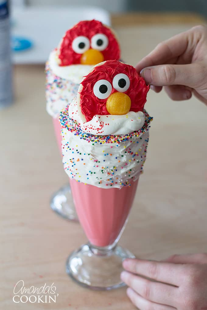 Elmo Freakshakes with elmo cookies