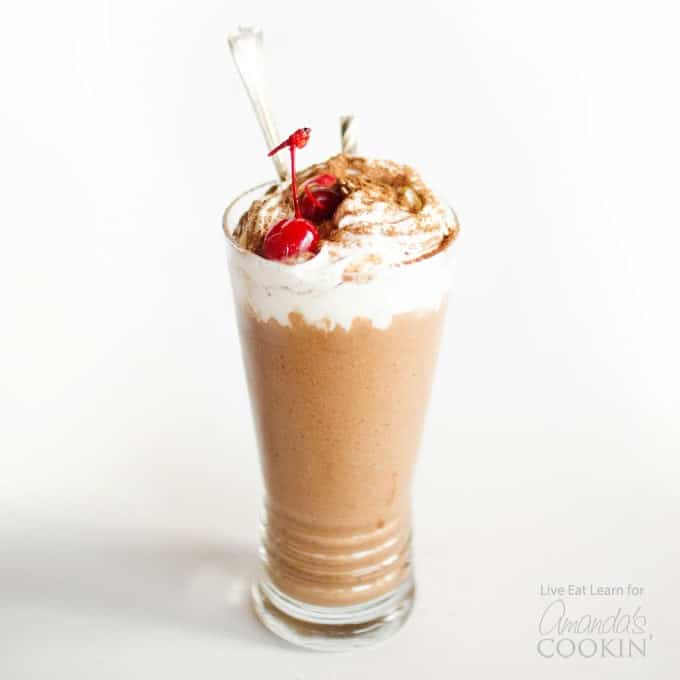 chocolate shake with cherry garnish