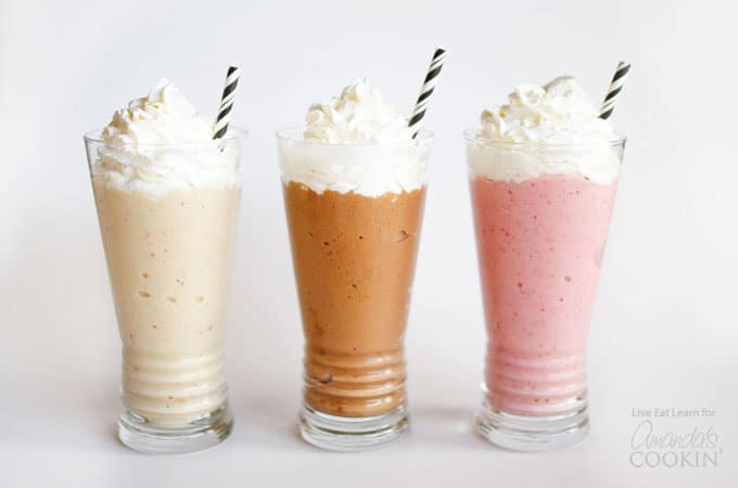 today we're taking this deliciously healthy trend a step further and making three mouth-watering Nice Cream Milkshakes in the classic flavors: strawberry, vanilla, and chocolate.