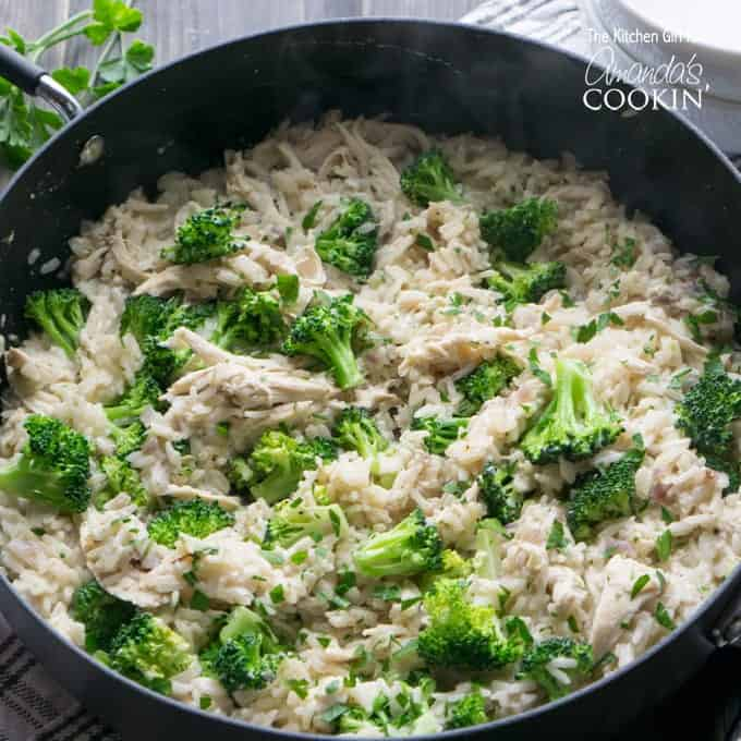 Chicken, Broccoli, and Rice in a skillet