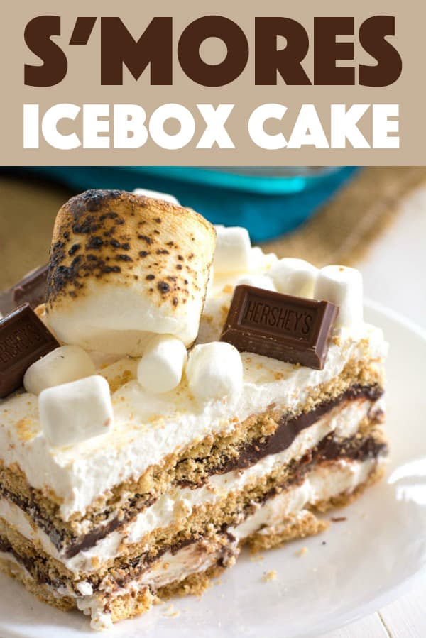 Smore's Icebox Cake Slice with toasted marshmallow and Hershey's