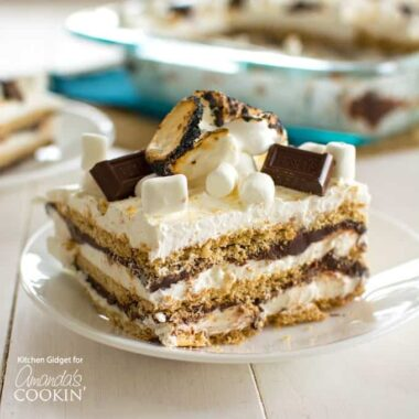 A piece of smores icebox cake on a plate