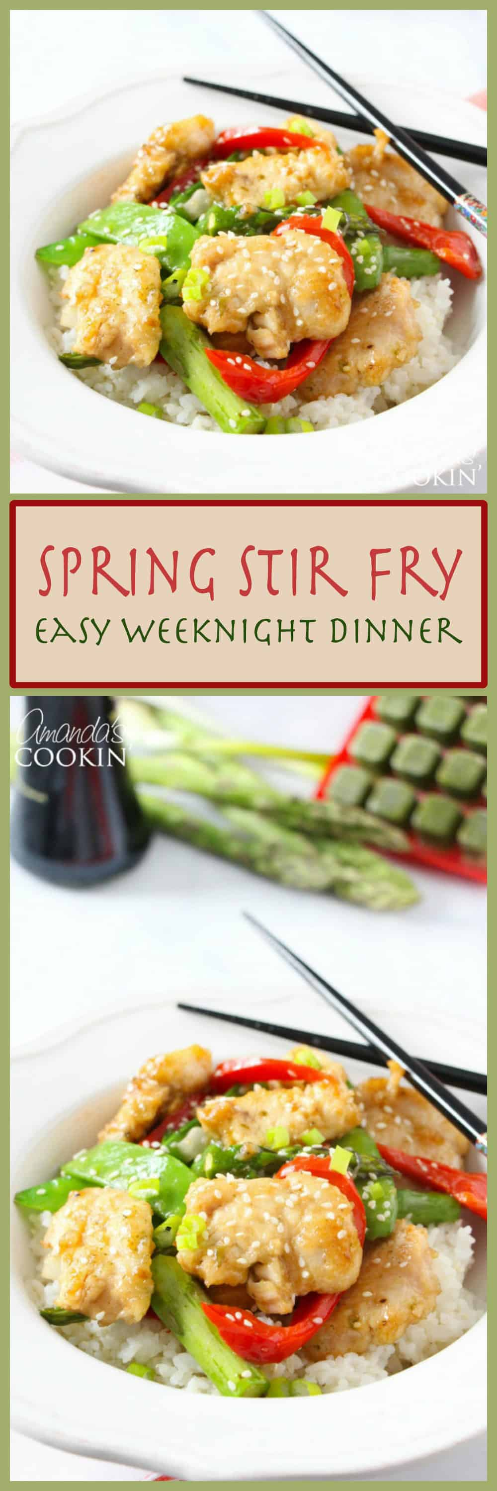 This beautiful spring stir fry includes fresh spring vegetables such as asparagus and pea pods with some colorful peppers to brighten things up!