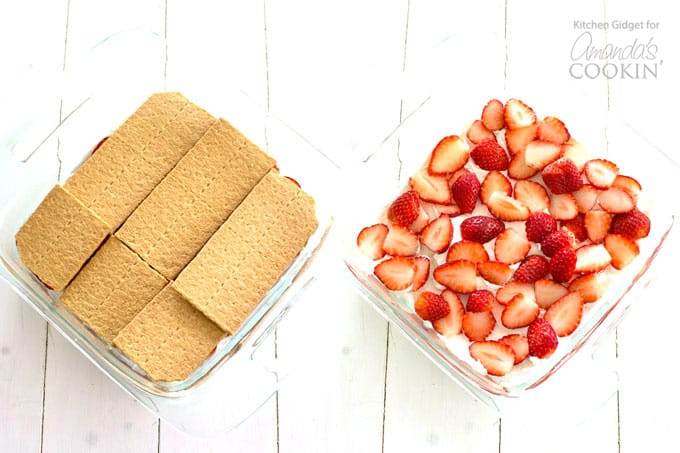 pans of strawberries and graham crackers