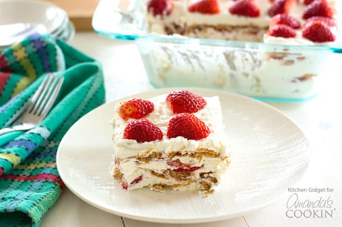 I don't even know where to begin with how amazingly delicious and easy this Strawberry Icebox Cake is! Like seriously, where have you been all my life? Strawberries, whipped cream, and graham crackers - that's all you need to make this no-bake wonder.