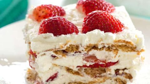 strawberry icebox cake on a plate