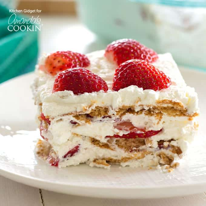 Strawberry Icebox Cake slice