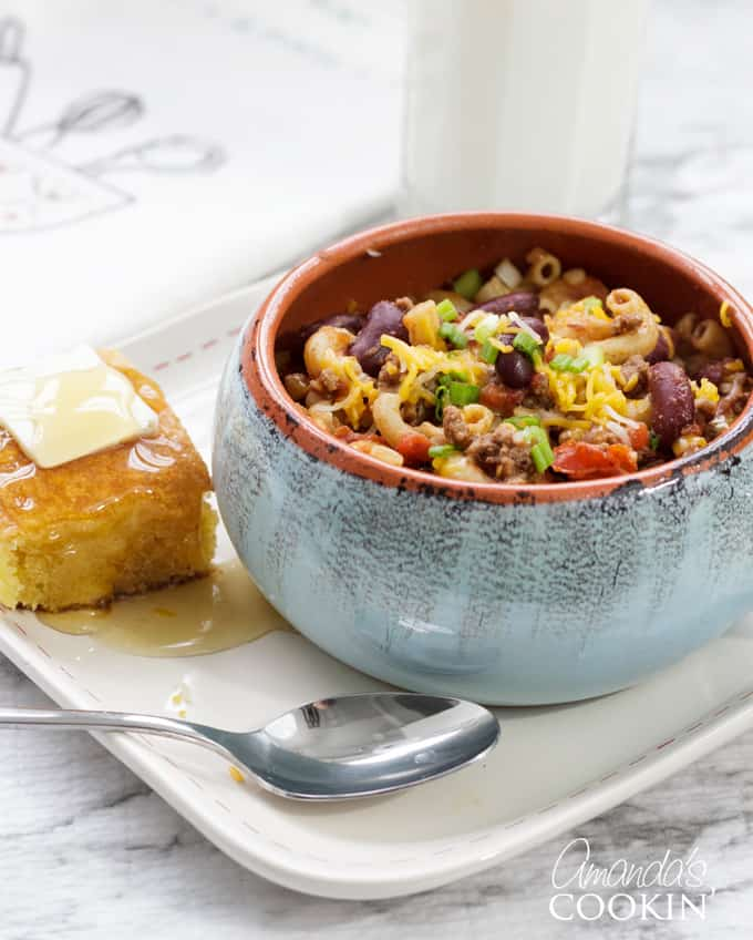 chili mac in a bowl